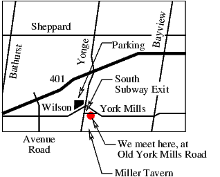 Map to York Mills Pickup